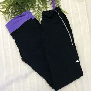 Lululemon Black & Purple Drawstring Leggings